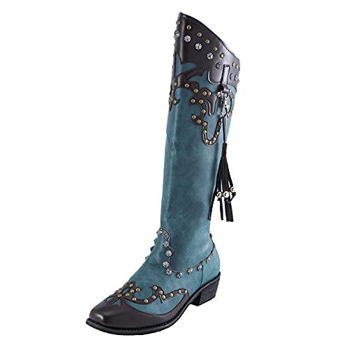 Damskie botki, modne kozaki do noszenia na co dzień, z obcasem blokowym, komfortowe frędzle, niebieskie, na jesień i zimę, kozaki, buty na śnieg, damskie buty na kostkę