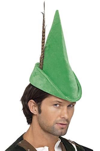 Smiffy's- Smiffys Cappello da Robin Hood, Verde con Piuma, Deluxe per Adulti, Colore Dorato, Taglia unica, 20037