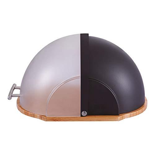 Brotkasten mit Deckel und Bambusholz - Kunststoff/Bambus / Edelstahl, 37 x 26,5 x 19 cm (LxBxH), Edelstahlgriff, weiß oder schwarz wählbar, Farbe:Schwarz