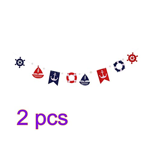 Amosfun Banner Anchor Ship Life Ring Shape Garland Nautical Maritime Decoration Hanging Decoration for Birthday Wedding Party Pack of 2 (Blue and Red)