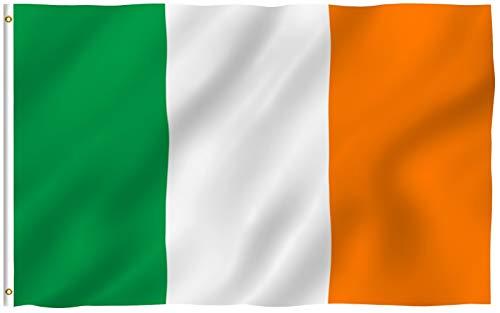 Anley Fly Breeze 3x5 Fuß Ireland Flagge - Lebendige Farbe und UV-beständig - Canvas Header und doppelt genäht - Irische Nationalflaggen Polyester mit Messingösen 3 X 5 Ft