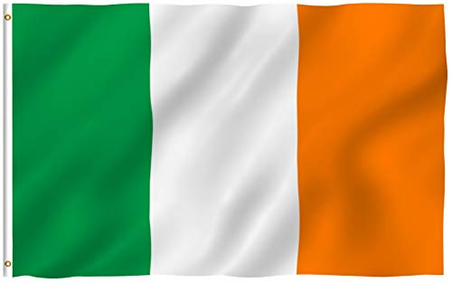 Anley Fly Breeze 3x5 Foot Ireland Flag - Vivid Color and Fade Proof - Canvas Header and Double Stitched - Irish National Flags Polyester with Brass Grommets 3 X 5 Ft