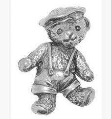 Gift Boxed Pewter Boy Ted Teddy Bear Tie - Lapel Pin Brooch Badge