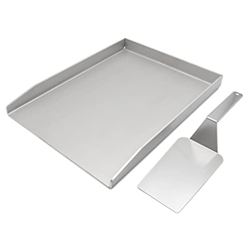 MaTaDa Edelstahl Grillplatte + Pfannenwender I BBQ Plancha 30 x 40cm I Universalgröße passend für viele Gas- und Kohlegrills I Für das perfekte Röstaroma!