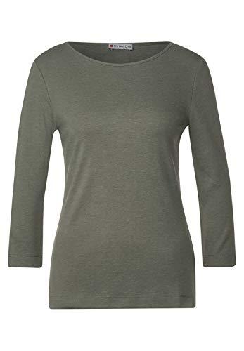 Street One Damen Shirt mit U-Boot Ausschnitt Shady Olive Melange 40