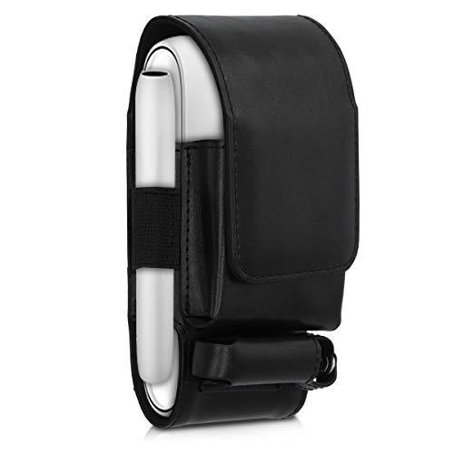 kwmobile Custodia Pelle PU Compatibile con IQOS 3 Pocket Charger - Astuccio Sigaretta Elettronica E-Cig - Porta Heet e Cleaner Nero