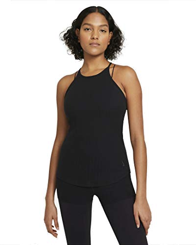 Nike T-Shirt NY Pointelle pour Femme XL Noir/Gris fumé