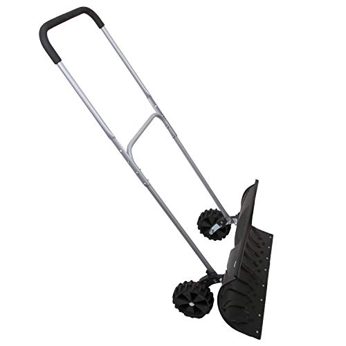 "Bandwagon Rolling Snow Pusher Heavy Duty Adjustable with 6"" Rubber Wheels"
