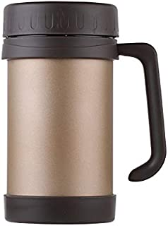 Business office cup stainless steel mug with handle wind widget vacuum insulated bottle, color: beige, capacity: 500ML (Co...