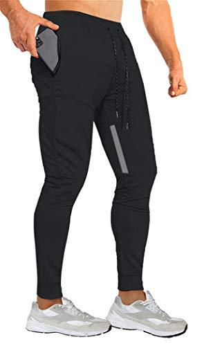 Yidarton Jogginghose Herren Baumwolle Sporthose Slim Fit Trainingshose mit Elastischem Bund und Reißverschlusstaschen (Schwarz,Large)
