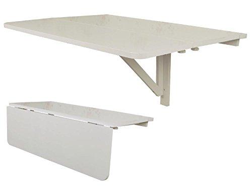 SoBuy® FWT02-W Table Murale Rabattable en Bois, Double Plateaux, Plateau Pliable 80×60cm - Blanc