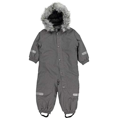 High quality baby snowsuit which is wind and waterproof. The adjustable hood is detachable and adorned with a detachable faux fur trim. The collar and cuffs are lined with soft fleece. The double storm placket provides extra protection against the cold and snow. Ideal for freezing conditions and snow. We like the reflectors with 360 degrees visibility. Suitable for 9-12 Months.