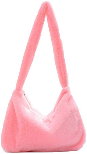 Plush Underarm Bag, Ladies Fluffy Shoulder Bag, Women Furry Plush Handbag for Autumn and Winter Underarm Bag Zipper Tote Bag (D)