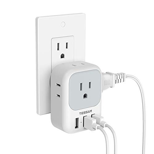 Multi Plug Outlet Extender with USB, TESSAN Electrical 4 Outlet Box Splitter with 3 USB Wall Charger, Multiple Power Outlet Expander for Cruise Dorm Essentials, Home, Office