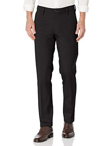 Dockers Men's Straight Fit Workday Khaki Smart 360 Flex Pants, Black (Stretch), 34W x 32L