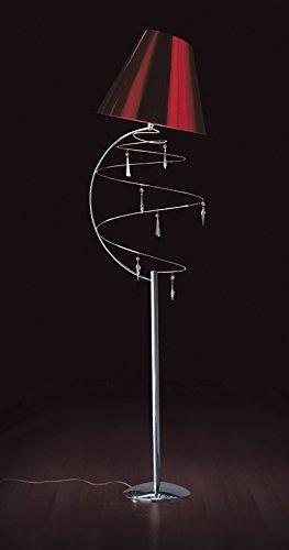 Piantana cromo con cristalli Swarovski, lampada da terra, Vertigo, E27 LED