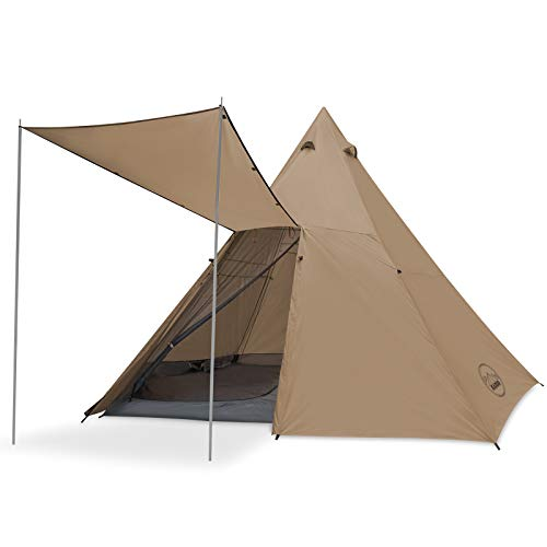 KAZOO Family Camping Tent Large Waterproof Tipi Tents 8 Person Room Teepee Tent Instant Setup Double Layer (Beige)
