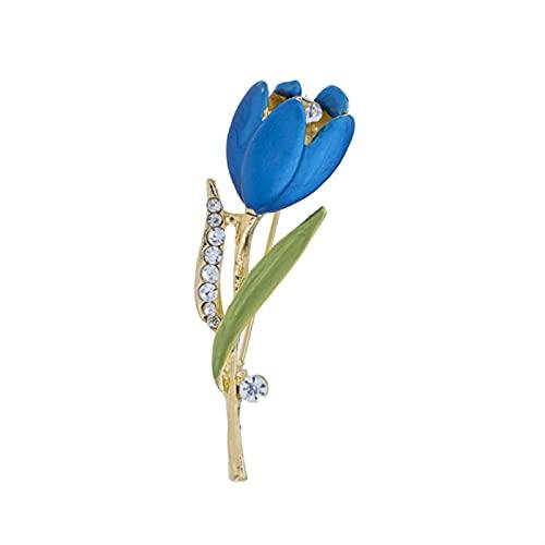 ZPEE Broche de Mujer Esmaltado Azul tulipán Broche Rhinestone Plant Pin Pin Día de San Valentín Regalo Broche de Tela para Mujer de Ropa