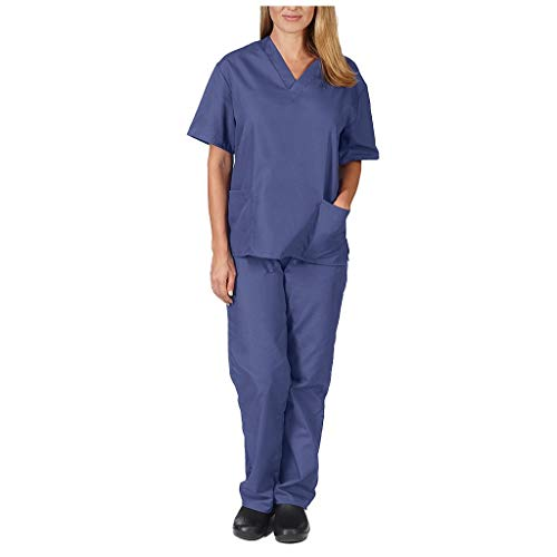 Smony Women's Healthcare Tunic Uniform, Men Short Sleeve V-neck Tops+Trousers Nursing Working Uniform Set Suit, Workwear, Medical Doctors Unisex 2 Pocket Top Hospital Workwear (Blue, XL)