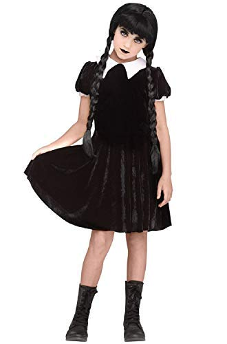 Fancy Me Girls Teens nero velour Goth gotico spaventoso Daughter Creepy mercoledì Addams film costume Halloween outfit 7–14anni