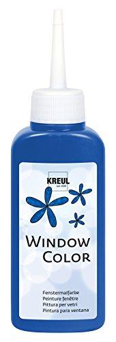 Kreul 42716 - Window Color royalblau 80 ml, Fenstermalfarbe auf Wasserbasis, mit strukturierter Oberfläche, für Glas, Spiegel, Fliesen und andere glatte Flächen