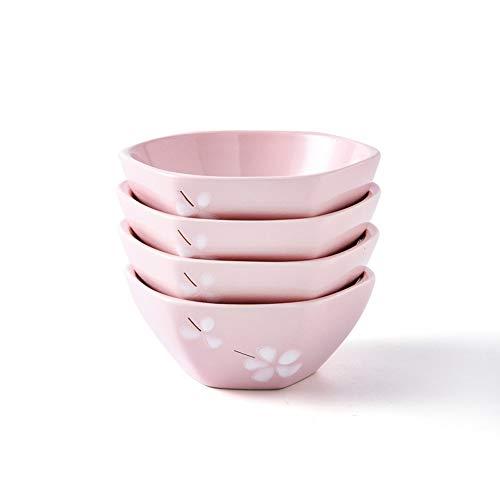 RKY Bol- Vaisselle de style japonais et à vent bol à riz hexagonal de 5 pouces 4 set combinaison ménage ménage petit bol à soupe bol en céramique personnalité créative - 2 couleurs /-/