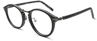 SGJFZD Men and Women Frame Glasses Frame Retro Round Glasses Frame Imitation Wood Grain Plate Round Frame (Color : C82)