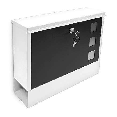 Relaxdays Briefkasten modern, mit Zwei Schlüsseln, abschließbar und mit Zeitungsfach, zweifarbig, Schwarz/Rot weiß/schwarz