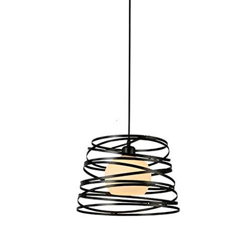 PLLP Candelabro - Lámpara colgante led minimalista nórdica Lámpara de araña de un solo cabezal de estudio de restaurante de hierro forjado (30Cm * 23Cm),A,luz blanca