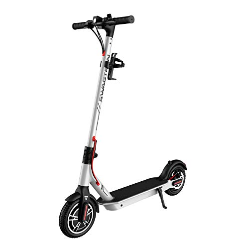 SWAGTRON App-Enabled Swagger 5 Boost Commuter Electric Scooter with Upgraded 300W Motor and 1-Click Quick Folding | Reach Max. Speeds up to 18 MPH with Enhanced Battery for Extended Rides (Silver)