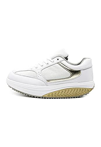 Mapleaf ortopédica Zapatillas Mujer Hombre Running Bambas Air Deportivas Zapatos para Tenis Futbol Baloncesto Andar Fitness Calzado Zuecos Comodos Antideslizante Atletico Trainer Zapato Oro Talla 38