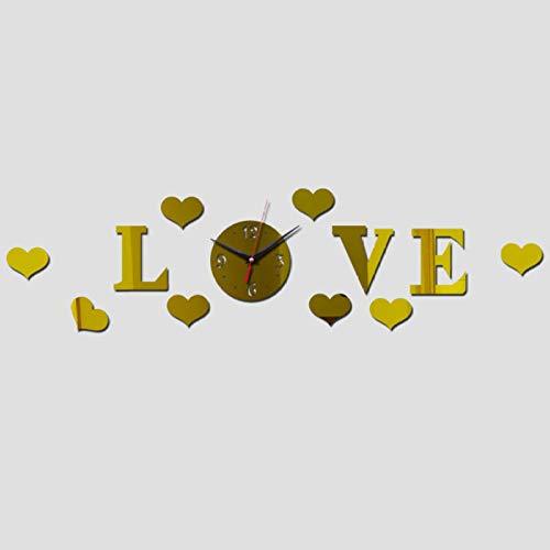 U/A Rahmenlose Wanduhr Acryl Spiegel Uhr Kreative Liebe Quarz Wanduhr Heimdekoration Taschenuhr
