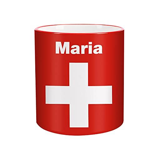 Herz und Heim® Tasse mit Wunschnamen & Flagge - Schweiz -