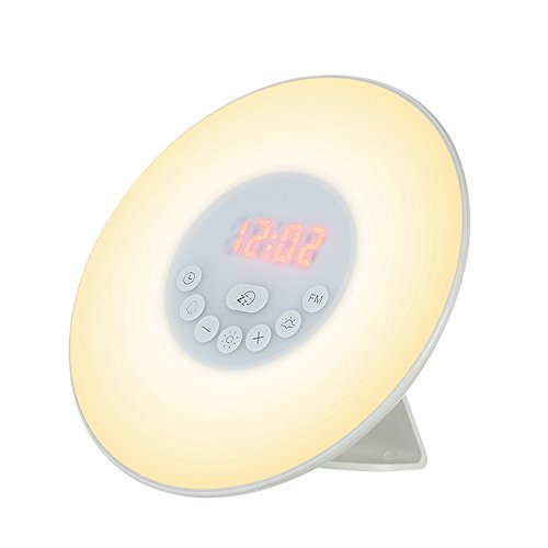 Weehey Wake Up Light Wecker Sonnenaufgang/Sonnenuntergang Simulation Digital Clock mit FM Radio 7 Farben Licht Natur Sounds Snooze-Funktion Touch Control