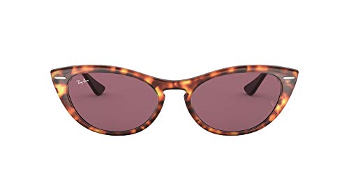 Ray-Ban Women's RB4314N Nina Cat Eye Sunglasses, Havana Red/Photochromic Violet, 54 mm