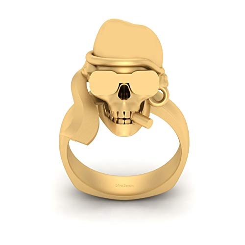Photo of Gangster Skull Wedding Ring Skull Smoking Cigar and Wearing Goggles and Hat Gothic Ring Solid 14k Yellow Gold (L)