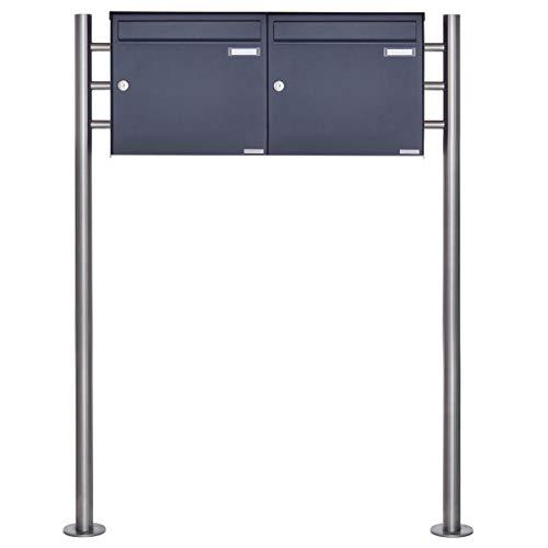 2er Standbriefkasten - 2 fach Briefkastenanlage Design BASIC 381 - Briefkasten Manufaktur Lippe (2 Parteien, waagerecht, RAL 7016 anthrazitgrau feinstruktur matt)