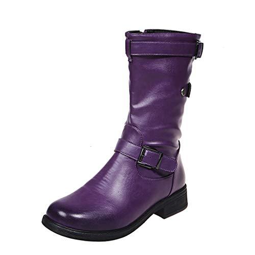 UMore Botines de Caña Media para Mujer Moda Botas Altas Invierno Mujer, Zapatos Mujer Cuña Planos Sintética Peluche Jinete Bajo Cómodos Peludas Calentitas
