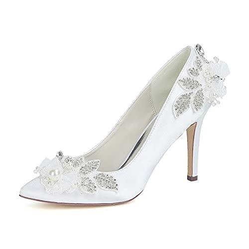 Zapatos de boda para mujer Tacón de aguja, punta puntiaguda, zapatos minimalistas sexis, fiesta de boda y noche, satén, diamantes de imitación, flor de perla de imitación,Blanco,US11/EU 43/UK9