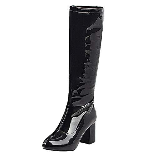 MISSUIT Damen Kniehohe Stiefel mit Blockabsatz High Heels Stiefel Lack Kniestiefel Reißverschluss Knee High Boots(Schwarz,42)