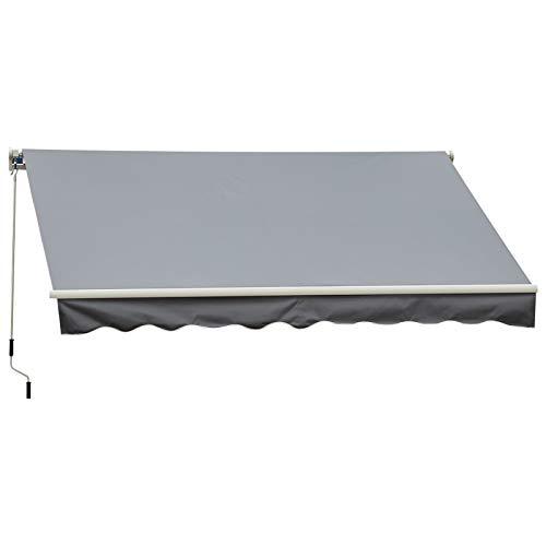Outsunny Store banne Manuel rétractable Aluminium Polyester imperméabilisé 3,5L x 2,5l m Gris