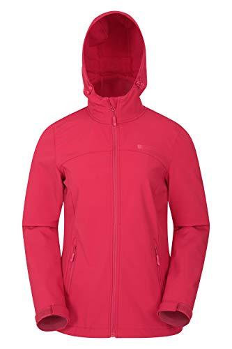 Mountain Warehouse Exodus Wasserabweisende Softshell-Damenjacke - atmungsaktive Regenjacke, länger im Rücken - großartig zum Spazierengehen, Reisen, Wandern, Frühling Rot 34