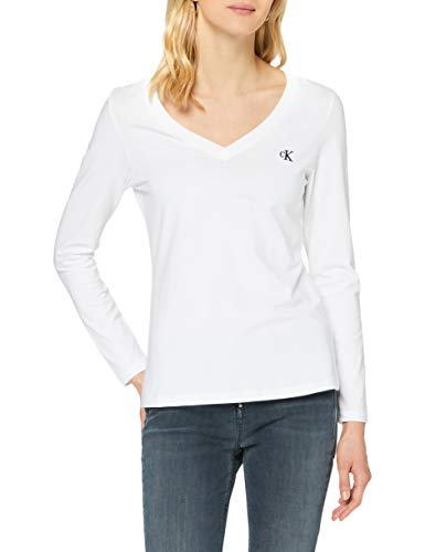 Calvin Klein Stretch V-Neck LS Camisa, Bright White, M para Mujer
