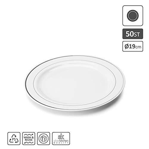 Silverkitchen 50x Vorspeisen- und Kuchenteller weiß Ø 19 cm | Plastikteller mit Silberrand Alt. zu Einweg | Robustes Plastikgeschirr hochwertige Qualität | edle Partyteller wiederverwendbar