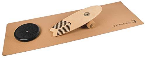 JUCKER HAWAII Homerider Wave Balance Board Set XL Including Cork Roller, Cork Mat and Balance Cushion