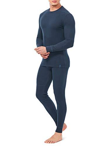 DAVID ARCHY Men's Soft Winter Warm Base Layer Top & Bottom Fleece Lined Thermal Set Long John (L, Navy Blue)