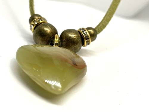 Green Jade Precious Stone Heart Pendant Necklace with Rhinestones, Heart Toggle Clasp: Jade brings Harmony-Happiness