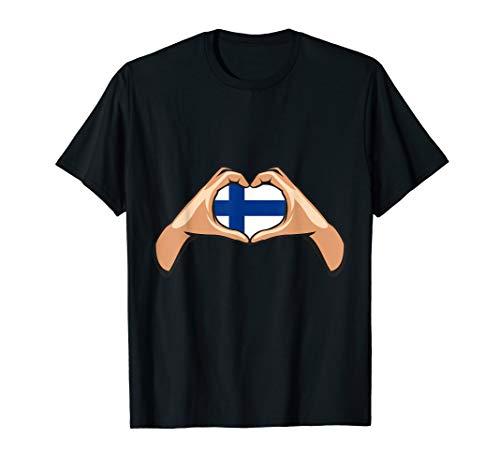 Finnland Flagge Finnische Fahne Hand Herz Zeichen T-Shirt