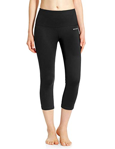 BALEAF Leggings for Women Capri High Waisted Yoga Pants Tummy Control Non See-Through Fabric Black Size L