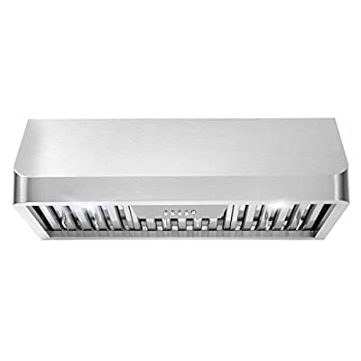 Cosmo QB75 30 in Under-Cabinet Range Hood 900-CFM   Ducted/Ductless Convertible Duct, Kitchen Over Stove Vent with LED Light, 3 Speed Exhaust Fan, Permanent Reusable Filter (Stainless Steel)